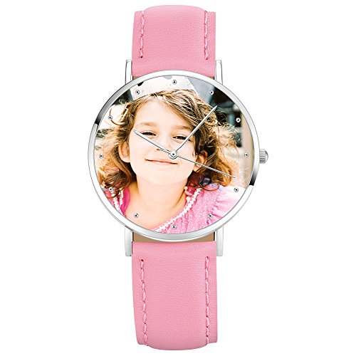 Soufeel Personalisierte Foto Armbanduhr für Damen Herren Analog Rosa lederarmband Klassisch Zifferblat Wasserdicht