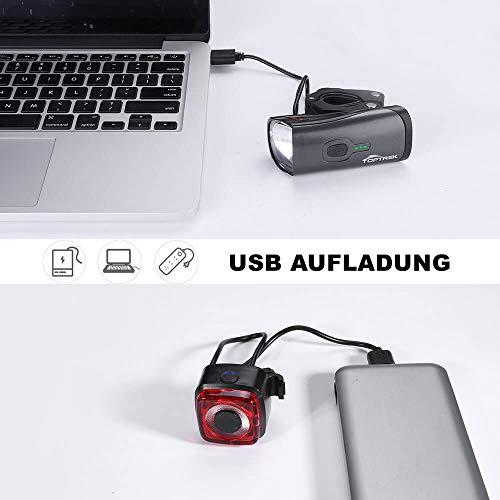 Toptrek Fahrradlicht StVZO Zugelassen, LED Fahrradbeleuchtung Set akku USB Wiederaufladbare OSRAM LED-Licht, umschaltbar zwischen 50/30 Lux, Frontlicht & Rücklicht IPX4 Wasserdicht Fahrradlampe (LF12) - 6