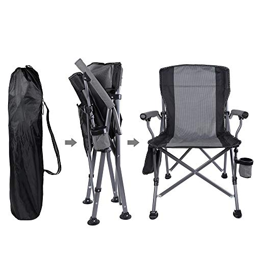 Boshen Support 330Ibs Outdoor Folding Camping Chairs Heavy Duty Picnic Fishing Beach Ergonomic Chair with Cup Holder & Storage Pocket, Carry Bag Included - Gray, 1 Pack