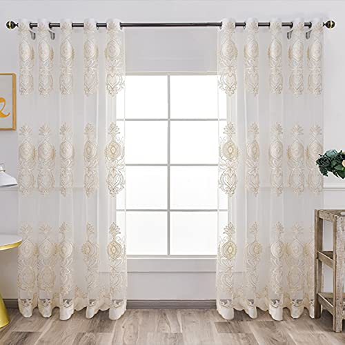 Gold Floral Embroidered lace Curtains Sheer Window Curtains for Living Room Bedroom,2 Panels 62x87 Inch White Voile Drapes CLWYAH302