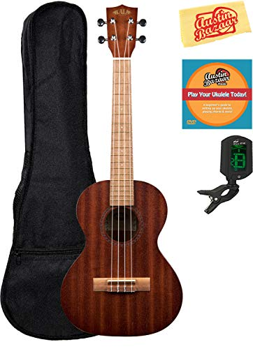 Kala KA-15T Satin Mahogany Tenor Ukulele Bundle with Gig Bag, Tuner, Austin Bazaar Instructional DVD, and Polishing Cloth
