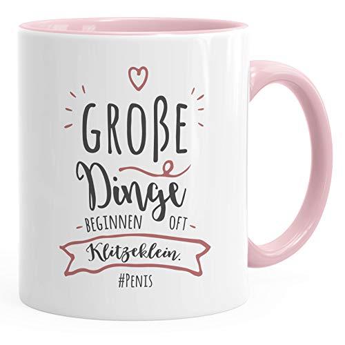 MoonWorks® Kaffee-Tasse Spruch Ironie Große Dinge beginnen oft klitzeklein #Penis Bürotasse Kaffeebecher rosa unisize