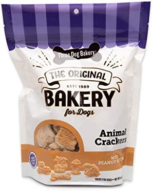 Three Dog Bakery Crunchy Classic Animal Crackers Peanut Butter Flavor Premium Treats for Dogs product image