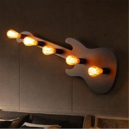H&M Wandleuchte Wandleuchte Vintage Industrial LOFT Retro Creative Gitarre Eisen Wandleuchte mit E27 Sockel für Bar Cafe Restaurant Dekoration (Birnen nicht enthalten)
