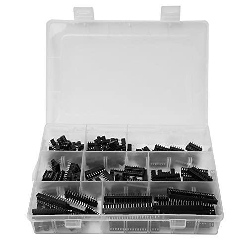 Enchufe IC, 122 piezas Adaptador de enchufe IC de 2,54 mm DIP-8 6 14 16 18 24 28 Conector de componente electrónico de 40 pines