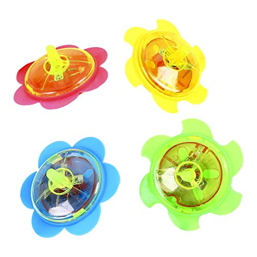 Fantastic Deal! Toyvian Flashing Spinning Tops Plastic Gyro Fidget Spiral Twister Toys for Kids,12pcs