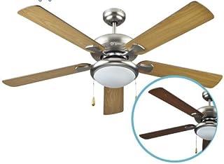 Garsaco GS2837 Ventilador techo con Luz 52' 5 aspas madera reversible, Metal