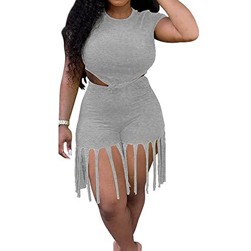 TNGXXWL Talla Grossa - Conjunto ajustado para mujer, conjunto de 2 piezas, camisa corta de color liso, pantalones cortos con borlas, mono liso gris L