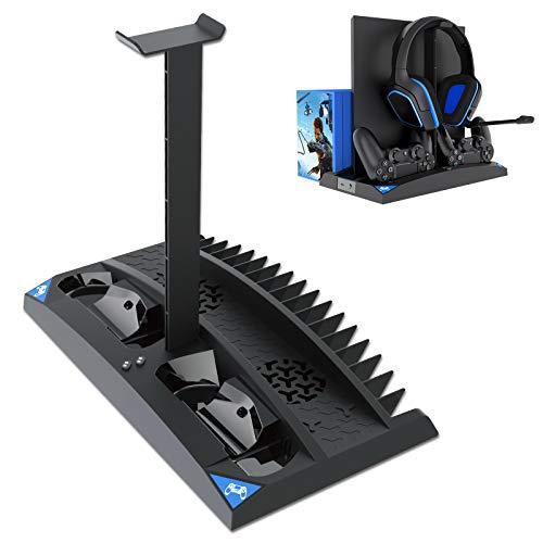 Suporte de resfriamento vertical Linkstyle compatível com Ps4 Pro/Ps4 Slim/Ps4, com 2 estações de carregador de controlador, 17 compartimentos de armazenamento de jogos, 1 suporte de armazenamento de fone de ouvido