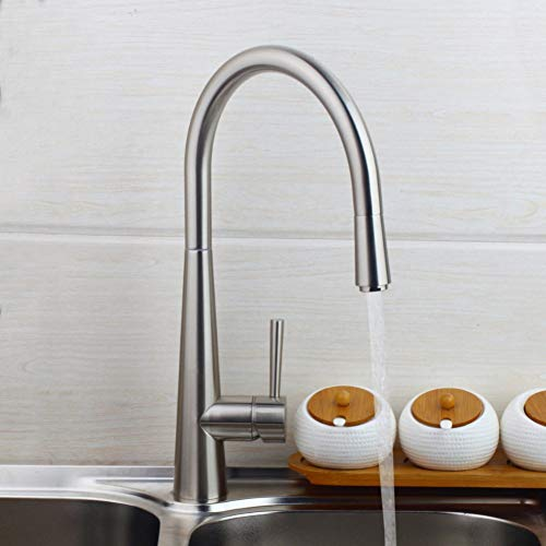 Taoziaa draaibare keukenkraan van geborsteld nikkel 360 wastafelarmatuur met waterkraan eengreepsmengkraan van massief messing
