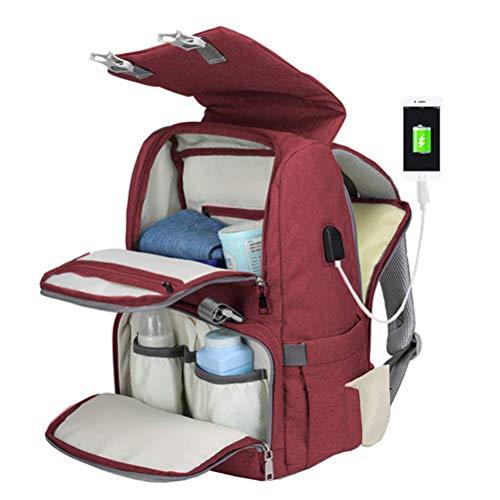 Borstu luiertas & kinderzitje babyrugzak multifunctionele waterdichte reis-rugzak luierrugzak met USB-oplaadpoort voor winkelen, reizen
