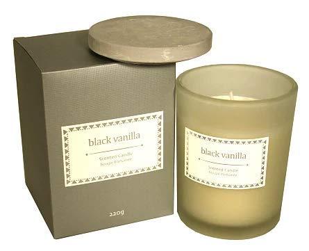 Candle Glass W/Lid In Dark Grey Gift Box - Black Vanilla