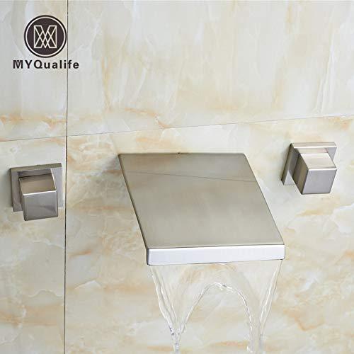 5151BuyWorld waterkraan, 2 handgrepen, vierkant, waterval, waterkraan, wandkraan, badkuip, gootsteen