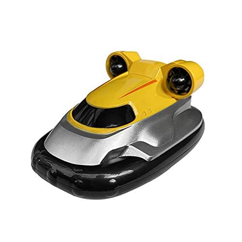 Lllunimon Remote Control Boat, Mini Dual Motors Water Sensing Speedboat, RC Hovercraft Toy Best Gift,Yellow