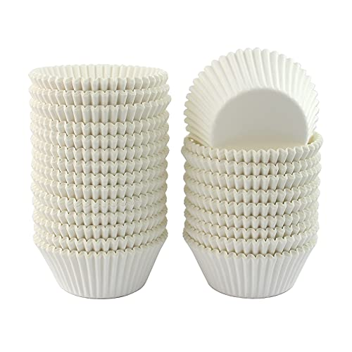 Xlloest Standard White Cupcake Liners 500 Pack, No Smell, Food Grade & Grease-Proof Paper Baking Cups