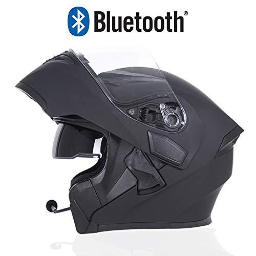 Braveking Motorradhelm, Double Lens Flip Vollvisierhelm Mit Bluetooth-Headset, Unisex-Elektroauto-Schutzhelm, Zu Öffnende Und Zu Schließende Entlüftungsöffnungen, DOT-Zertifiziert,11,XXL