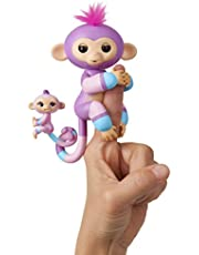 Fingerlings Baby Monkey BFFs - Violet (Mauve) & Hope (Mini) - Interactive Pet - By WowWee