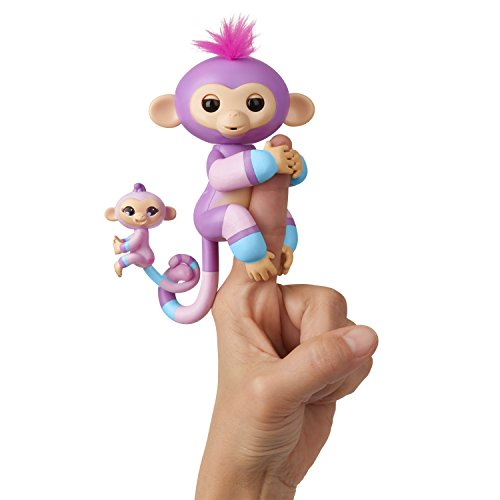 WowWee Fingerlings Baby Monkey & Mini BFFs - Violet & Hope (Mauve-Blue)