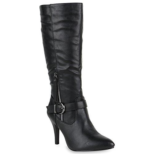Klassische Stiefel Damen Boots Leder-Optik High Heels Schnallen Schuhe 147942 Schwarz Schnalle 38 Flandell