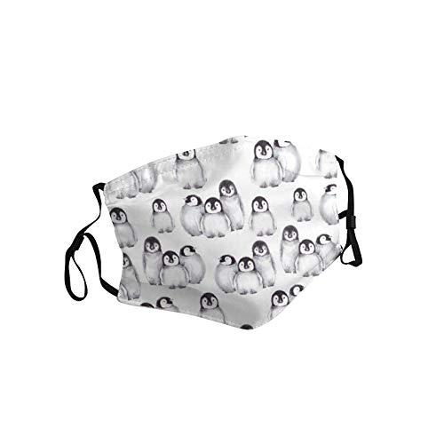 Mundschutz Windproof Mundmaske Pinguine Printing Waschbar Mehrweg Atmungsaktiv Stoff Bandana Halstuch Tuch Mund und Nasenschutz 1 Maske+2PCS Filter