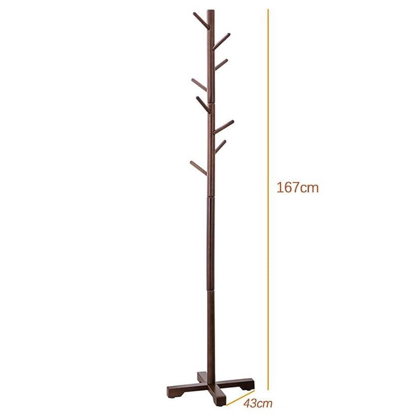 反論者和訪問ポールハンガー 竹製 ハンガーラック コートハンガー 枝型フック設計 ウッド風 十字台座安定感が抜群
