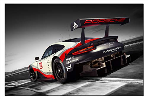 Leinwand-Bild Auto Porsche 911 RSR Sportwagen Wandbild Automobil Bilder Grafik Abstrakt Kunstdruck