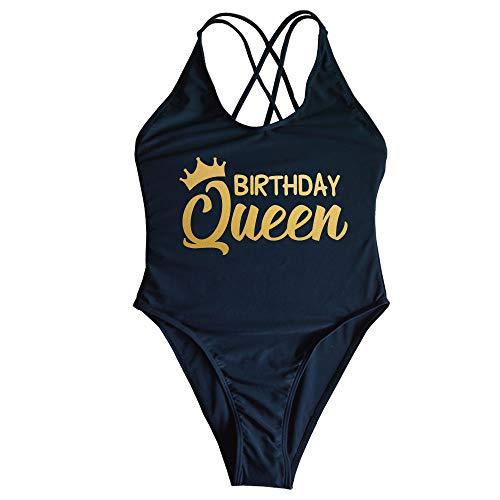 Yarsiman Birthday Queen for Women Criss Cross Back One Piece Swimsuit High Leg Swimwear Birthday Women's