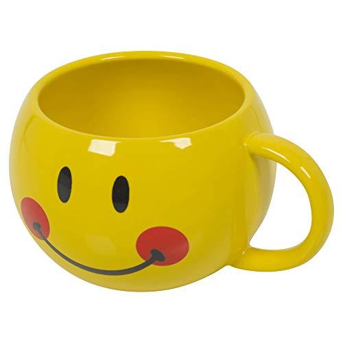 Kaffee- und Teebecher aus Keramik mit Smiley-Emoji-Motiv, 30 cl, Geschenkverpackung, ideal als Geschenk, 3 Versionen erhältlich Blushing (Gelb)
