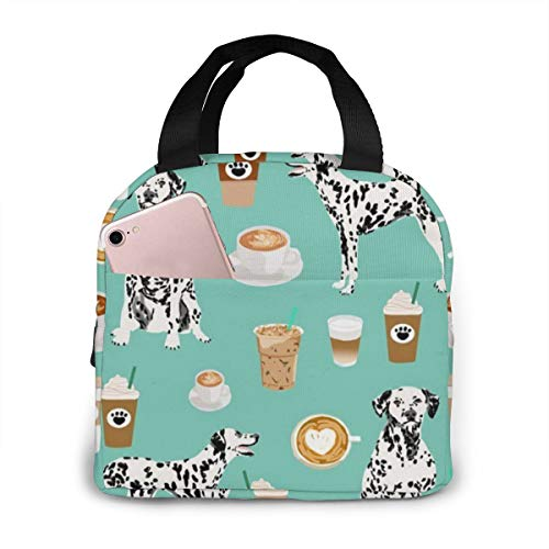 ~ Dalmatians Cute Mint Coffee Best Dalmatian Dog Print Lunch Bag for Girls, Reusable Cute Lunch Box Insulated Lunch Tote Bag with Front Pocket for School Kids Teen Girls