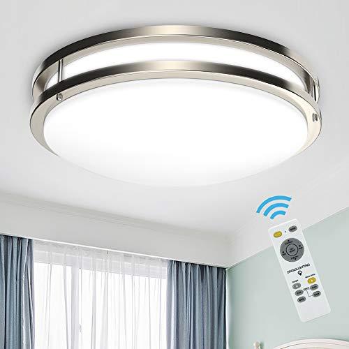 Depuley - Plafón LED de 30 W, regulable, lámpara de techo, mando a distancia para salón, Ø 355 mm, 2550 lm, redondo, clásico, blanco cálido frío neutro en 3000 K-6000 K para comedor, cocina y pasillo