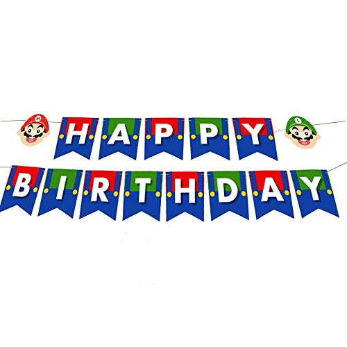 1 Set Happy Birthday Banner for Super Mario Brothers Party Supplies For Kids and Adults Birthday Party Decorations Party Supplies