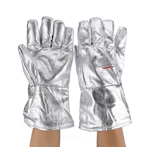 Hochtemperaturbeständige Handschuhe 200 ° Industrielle Verbrühungsschutz- und Wärmeisolierungshandschuhe Beziehen sich auf lange Strahlenschutzhandschuhe aus heißer Aluminiumfolie 34 cm
