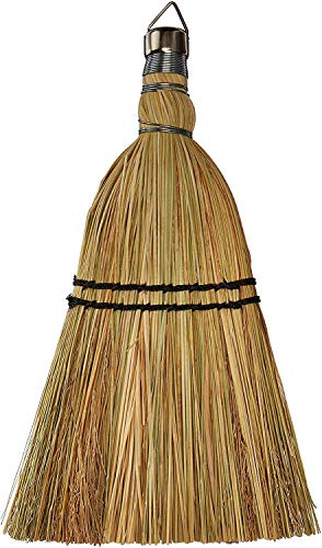 """Rocky Mountain Goods Whisk Broom 12"""" - Heavy Duty Natural Corn Straw with Reinforced Nylon Stitching - Small Whisk for Car, Outdoor, Camping - Sturdy Metal Hang Design"""