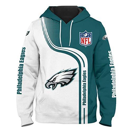 SZRXKJ Herren Kapuze 3D Digitaldruck F-Serie Farbe Patchwork Philadelphia Eagles Pullover Hoodies Sweatshirts(XXL,Blue)