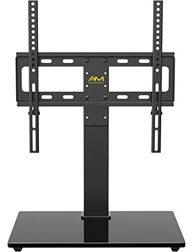 AM alphamount Universal TV Stand Swivel Tabletop TV Base Fits 26-55 Inch LED LCD OLED 4K Flat Curved TV Monitor with VESA 400x400mm Height Adjustable TV Mount Stand Rotation Holds up to 88lbs