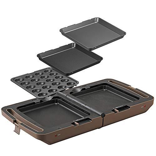 アイリスオーヤマ 両面ホットプレート 平面プレート たこ焼きプレート 焼き肉プレート 同時調理 丸洗い可 コンパクト収納 DPOL-301-T ブラウン