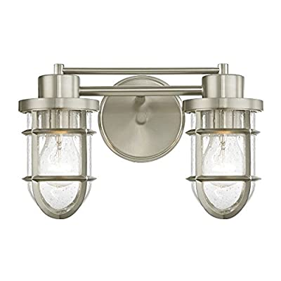 Seeded Glass Bathroom Light Satin Nickel Cage 2 Lt
