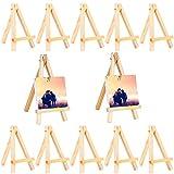 Mini Caballetes madera LLMZ 12 Pcs pequeña madera caballete Tripode Caballete Foto Caballete para boda para Escritorio Pequeño Arte Decoración de Mesa de Boda Cumpleaños Bautismo
