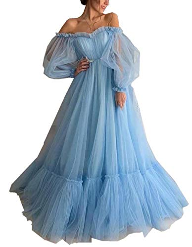 Mauwey Women's Off The Shoulder Prom Dresses Long Sweetheart Puff Sleeve Tulle Evening Party Gowns Light Blue
