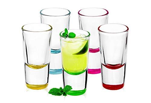 Sables & Reflets Original Shooter, Verres à Shot Mix Color - Vodka, Tequila - Lot de 6-25 ML