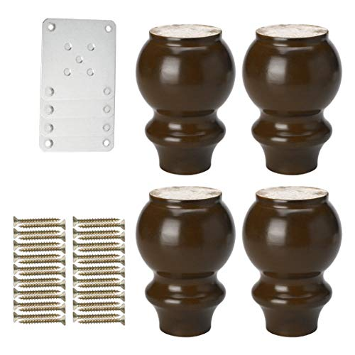 sourcing map 5 Inch Solid Wood Furniture Legs Couch Chair Table Desk Closet Cabinet Feet Replacement Adjuster Set of 4 Burgundy