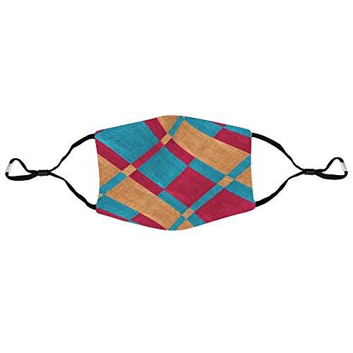 Cheyan Personalisierte Nylon-Atemschutzmaske, modisch, verstellbare Ohrschlaufe, Mundschutz, Unisex, Anti-Staub, Verschmutzung, Radfahren, Stoff, geometrisch, 20 x 14 cm