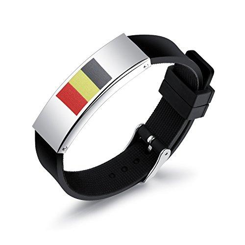 Gutcandie Herenarmband van siliconen, zwart, verstelbaar, Rusland, 2018, wereldkampioenschap met nationale vlaggen, armbanden voor sport en vriendschapsarmbanden (België)