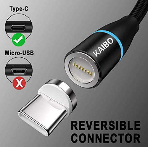 KAIBO Magnetisches USB Typ C Kabel, [2Stück 2m] Nylon Magnet Ladekabel USB C Schnellladekabel für Samsung Galaxy S20/S10/S9/S8+/A40/A50/M20, Huawei P30/P20/Mate 20, Xiaomi, Sony, LG, Honor, OnePlus