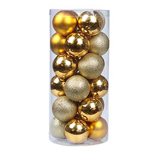 Steellwingsf Decorazioni Natalizie - 24 Pezzi/Set Decorazione Di Base Per Albero Di Natale Da Appendere A Forma Di Pallina Di Natale Giallo