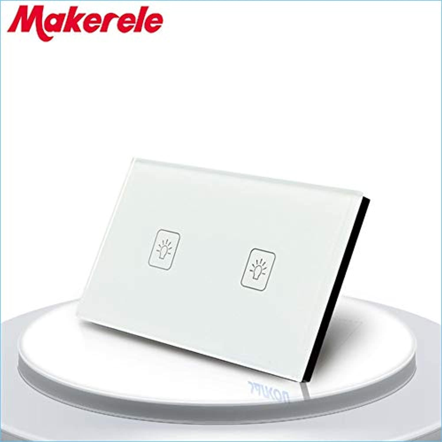 US Standard Touch Switch 2 Gang 1 Way White Crystal Glass Panel,Light Switch,Touch Screen Wall Switch,Wall Socket for lamp