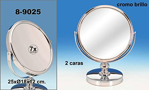 DonRegaloWeb – Miroir de Salle de Bains avec Socle en métal et 2 Faces avec grossissement 7 x décoré en Chrome Brillant