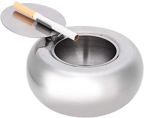 Duokon Cenicero con Tapa Acero Inoxidable Redondo Interior Exterior Oficina Sobremesa Escritorio Hogar Escritorio A Prueba de Viento Soporte para Cenicero Fumador