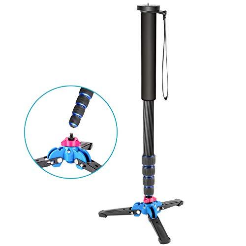 Neewer拡張可能なカメラカーボンファイバー一脚取り外し可能な折りたたみ式三脚サポートベース付き5セクション脚(最大66in/168cm)CanonNikonSonyDSLRカメラ用耐荷重11lb/5kgまで