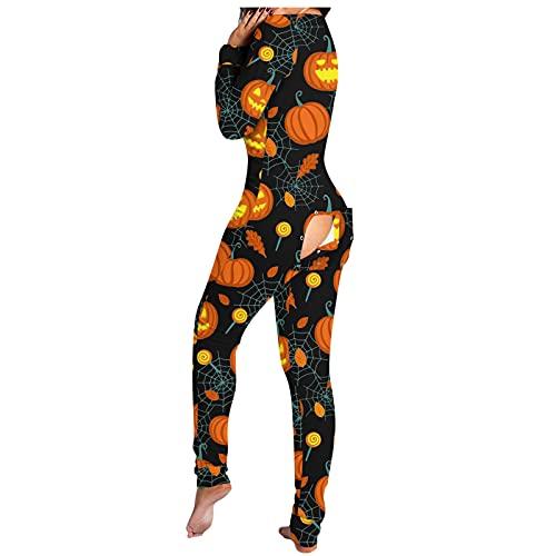 Mono de dormir para mujer, sexy, Butt Butt Butt Button Back Flap pijama Onesie Mono de una pieza con solapa en la parte trasera, para otoño e invierno, ropa de dormir larga con solapa abotonada